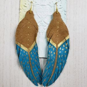 Long Leather Feather Earrings Boho hand painted